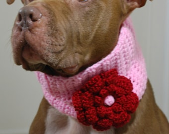Dog Cowl Pale Pink with Cranberry Flower
