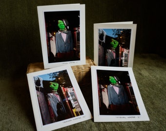 4 pack Greeting Cards Ready to Ship paper goods Hipster Green Frog Wearing Clothes
