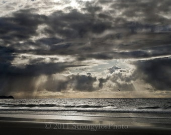 beach photography, 13x19 print, California sunset with storm clouds, nautical decor, Imperial Beach, CA ocean photo