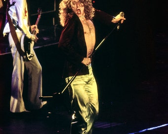 Robert Plant, Led Zeppelin, film slide photo from 1977 concert printed with digital technology, 8x12