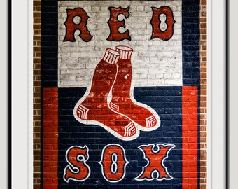 Photography, Red, White, Blue, Boston Red Sox, baseball, Take the T to Fenway, painting on brick, sports photography