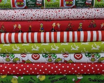 New 2021 How The Grinch Stole Christmas SUPER BUNDLE SET from Dr Seuss Fabrics- 15 Fabrics Total- 100% High Quality Quilt Shop Cotton