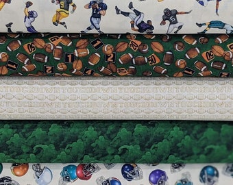 Green Football FABRIC BUNDLE from Novelteenies Collection - 100% Quilt Shop Quality Fabric - 5 Fabrics Total
