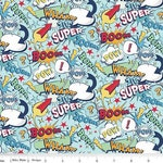 Super Hero Fabric- Superhero Words on Blue From the Novelty Collection by Riley Blake Fabric 100% Cotton
