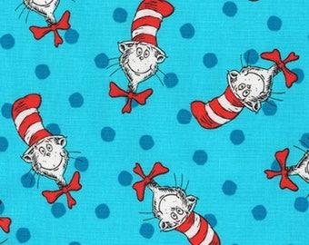 Seuss Cat in Hat Bulb Toss Blue Green Christmas Fabric Robert Kaufman YARD