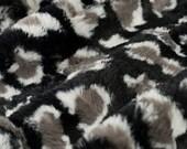 MINKY- Luxe Cuddle Leopard in Black From Shannon Fabrics- You Choose Cut