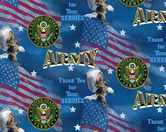 Sale Military U.S Army American Flag Tank Eagle 100/% Cotton Patchwork Fabric