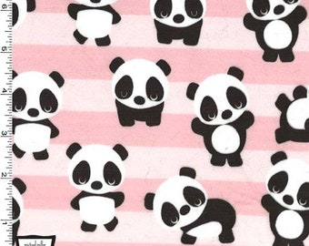 499e0e4433659a MINKY Plush Playful Panda Stripes in Pink From Michael Miller Fabric- You  Choose Cut