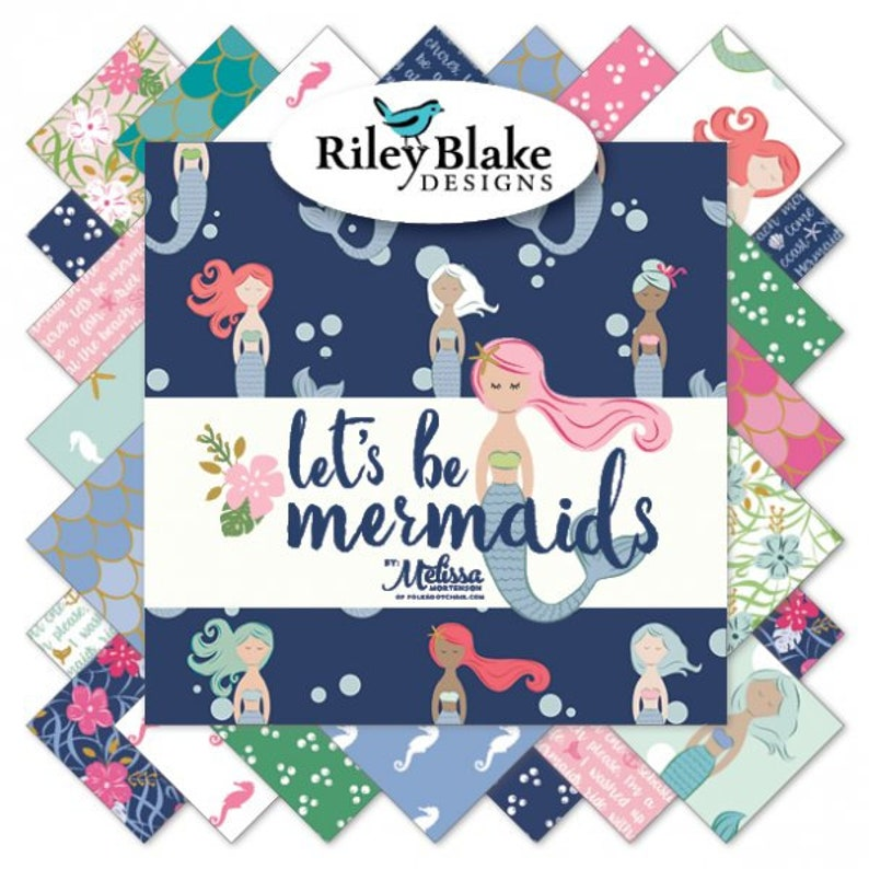 in Navy Blue from Let/'s Be Mermaids Collection by Riley Blake 25/% OFF CLEARANCE SALE Metallic Mermaid Panel approx 36x44