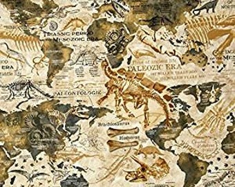 Dinosaur Map from Timeless Treasures Fabric