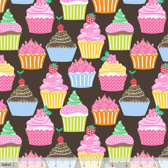 Icing On Fabric: Icing On Top Cupcakes On Brown From Blend Fabric's Lolly