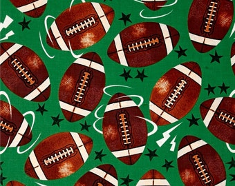 Allstar Footballs on Green from Fabri-Quilt's Sports! Collection