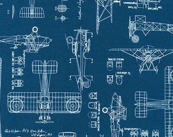 Vintage Airplane Blueprints on Indigo Blue from Robert Kaufman Fabrics - Aviation / Transportation Fabric