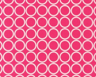 """END OF BOLT - 1 Yard 16 Inches X 44 Inches (52""""x44"""") of Hot Pink Circles Metro Living From Robert Kaufman - 100% Cotton Fabric"""