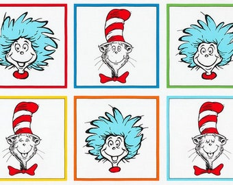 """Cat in the Hat PANEL (approx 24""""x44"""") from Dr Seuss Enterprises Collection by Robert Kaufman Fabric 100% Cotton ADE-18195-203"""