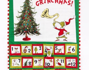 "The Grinch Advent Calendar Panel From Dr Seuss's How The Grinch Stole Christmas from Robert Kaufman - Panel is 36""x44"""