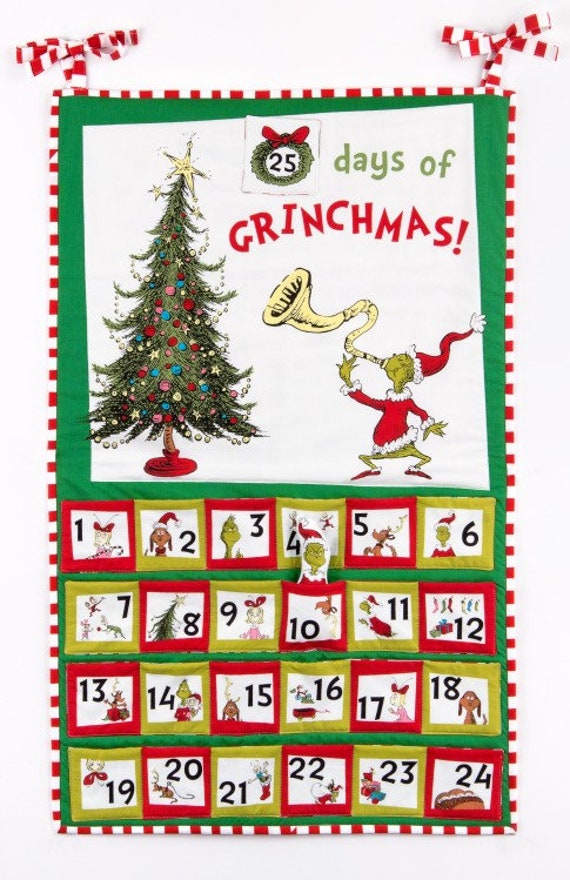 the grinch advent calendar panel from dr seuss 39 s how the. Black Bedroom Furniture Sets. Home Design Ideas