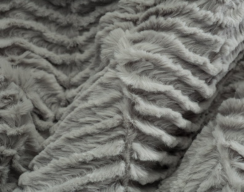 Silver Gray Plush Luxe Cuddle Ziggy MINKY Fabric From Shannon Fabrics 12mm Pile Zig Zags  Chevron