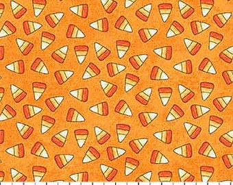 Candy Corn Candies on Orange from Northcott Fabric's Happy Halloween Collection