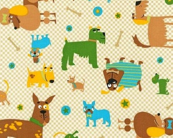 """Fat Quarter (18""""x22"""") Only of Whiskers & Tails Natural Dogs from Robert Kaufman"""