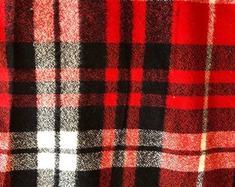 Plaid Check in Scarlet Red and Black from Mammoth Flannel Collection by Robert Kaufman Fabrics