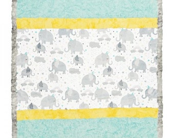 """Bambino Cuddle Kit- Ear For You Elephant MINKY QUILT KIT from Shannon Fabrics- Approx Finished Size 28"""" x 37"""""""