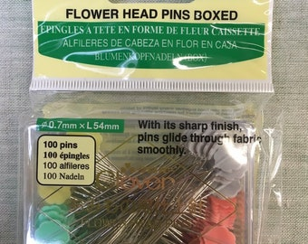 """Flat Flower Shaped 2"""" Straight Pins by Clover- Sewing & Quilting- 100 Piece Set"""