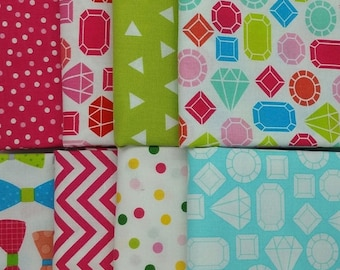 50% OFF CLEARANCE SALE Fancy Jewels 8 Half-Yard Bundle from Robert Kaufman Fabrics This & That Collection by Ann Kelle, 4 Yards Total