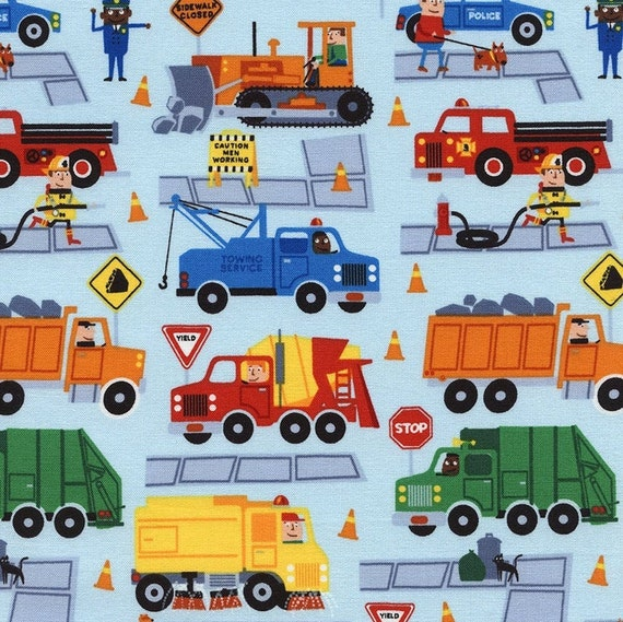 Listing All Trucks >> Trucks And Vehicles On Sky Blue From Timeless Treasure S Traffic Jam Collection