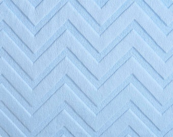 """END OF BOLT- 9.5""""X60"""" Baby Blue Embossed Chevron Minky From Shannon Fabrics 1 Yard"""