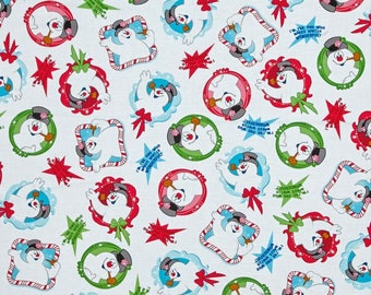 Frosty The Snowman Tossed on White from Quilting Treasure's Frosty - Everybody's Favorite Snowman Collection