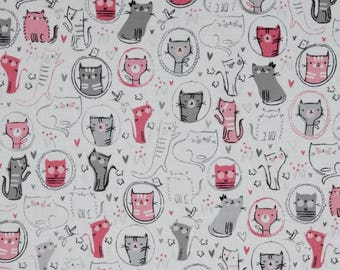 Pink and Grey Cats from Robert Kaufman's Whiskers & Tails Collection