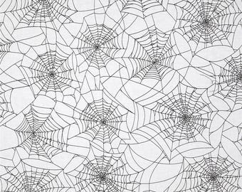 Black Spider Webs on White from Henry Glass's Fright Night Collection