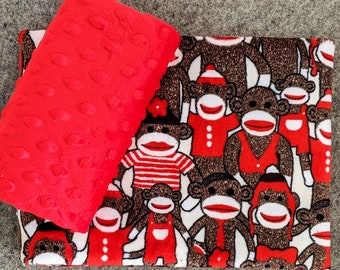Plush Cuddle® Minky Sock Monkey Pillow Case KIT - Sock Monkey & Red Dimple from Shannon Fabrics