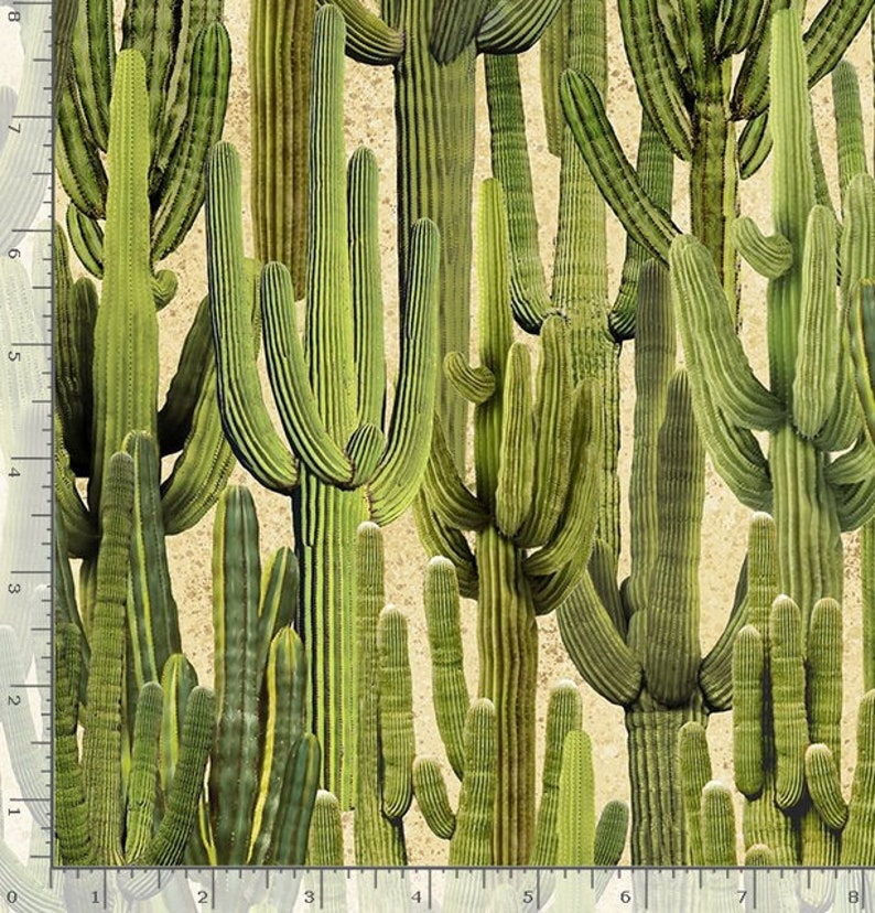 Realistic Saguaro Cactus from Southwest Collection by Timeless Treasure Fabric You Choose Cut