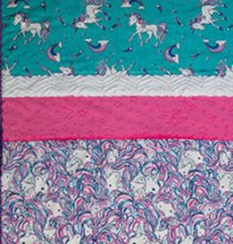 includes 5 pre-cut strips Minky Quilt KIT Stardust Unicorn Picture Perfect Cuddle Kit from Shannon Fabrics pattern and binding 38x58