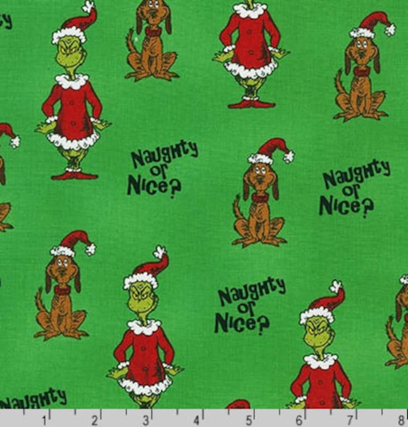 The Grinch and Max's Naughty or Nice Fabric on Green from image 0