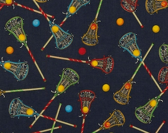 Tossed Lacrosse Sticks on Navy Blue from Timeless Treasure Fabric's Sports Collection by Gail Cadden