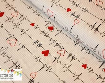 Calling All Nurses Heartbeat EKG Monitor on White from Windham Fabrics