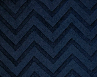 """End of Bolt- 10""""x60"""" Navy Embossed Chevron Minky From Shannon Fabrics"""