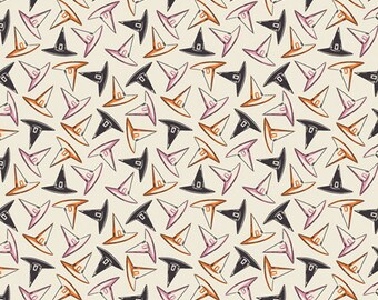 Halloween Fabric- Hocus Pocus Tossed Witch Hats from Spooky 'n Sweeter Collection by Art Gallery Fabrics - 100% Cotton