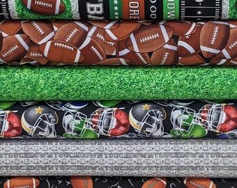 Football FABRIC BUNDLE SET - 6 Fabrics Total- You Choose Bundle Cut