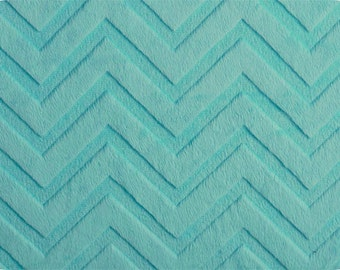 """END OF BOLT- 12.5""""X60"""" Turquoise Embossed Chevron Minky From Shannon Fabrics"""