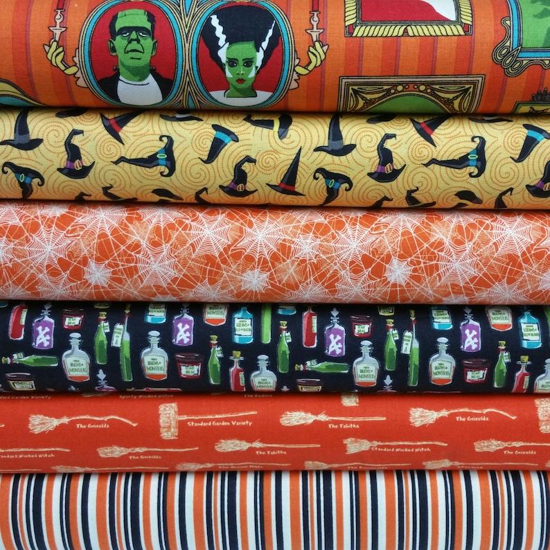 6 Fabrics Haunted House Orange Bundle from Riley Blake Fabrics