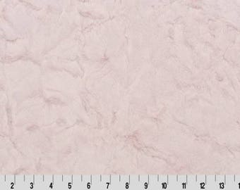 """END OF BOLT- 34.5""""x60"""" of Baby Pink Luxe Cuddle Marble Minky From Shannon Fabrics"""