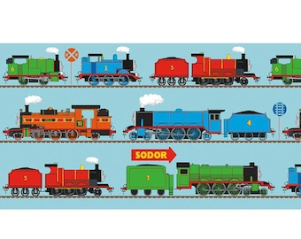 """Large Train Continuous Panel in Blue from All Aboard Thomas the Tank and Friends Collection by Riley Blake- You Choose the Cut- 24"""" Repeat"""