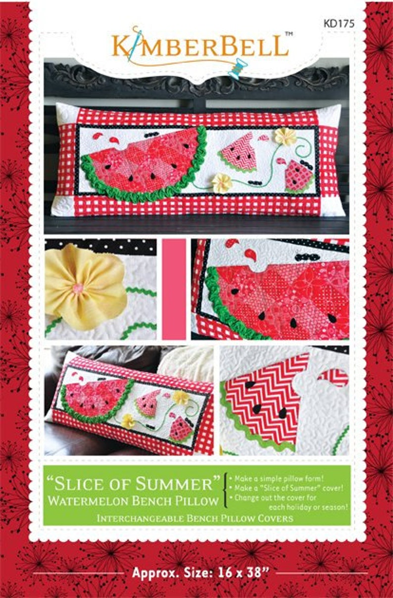 PAPER PATTERN  Slice Of Summer Watermelon Bench Pillow image 0