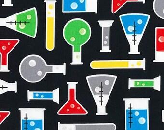 Science Beakers on Black from Robert Kaufman
