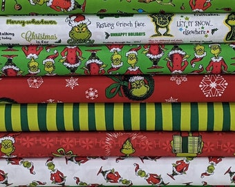 New EXCLUSIVE 2021 Cali Quilt Co How The Grinch Stole Christmas GREEN BUNDLE Set from Dr Seuss- 8 Fabrics Total- 100% High Quality Cotton