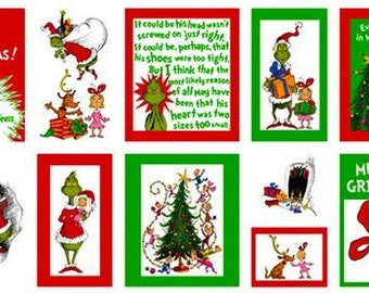"""The Grinch Book Panel from Robert Kaufman's How The Grinch Stole Christmas from Dr Seuss Enterprises (23.5""""x44"""") - 100% Cotton"""